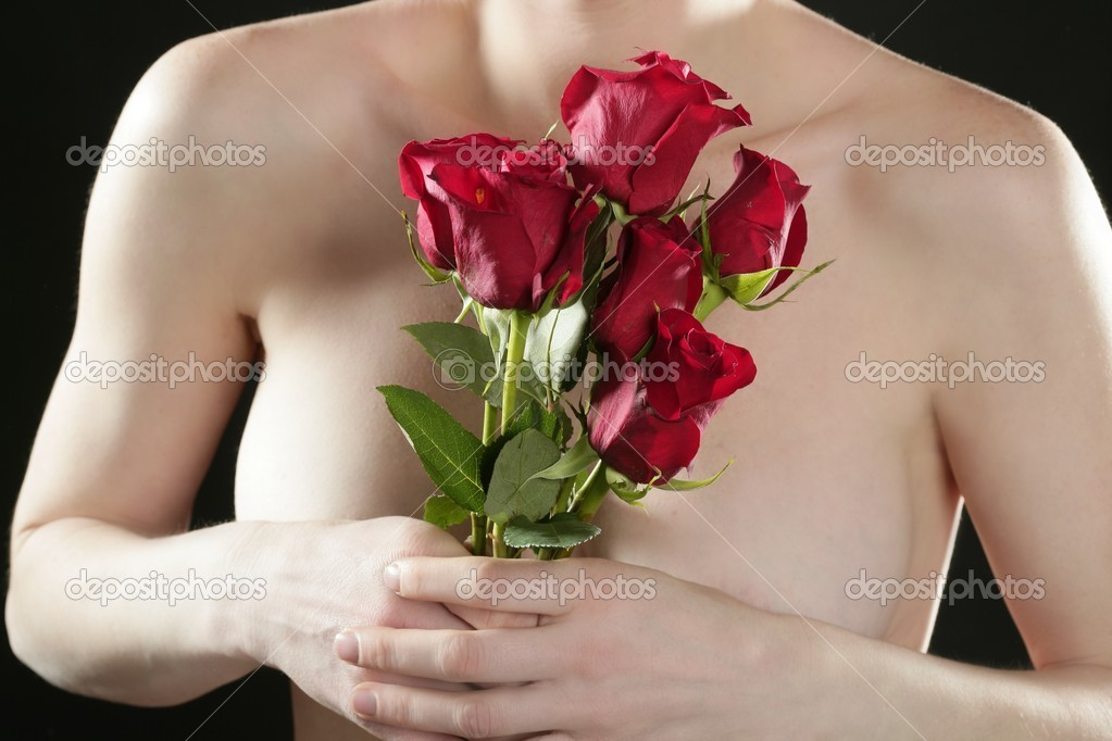 Roses and nude female