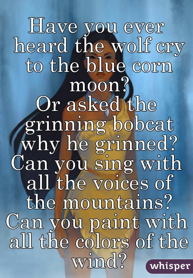 Have you ever heard the wolf cry