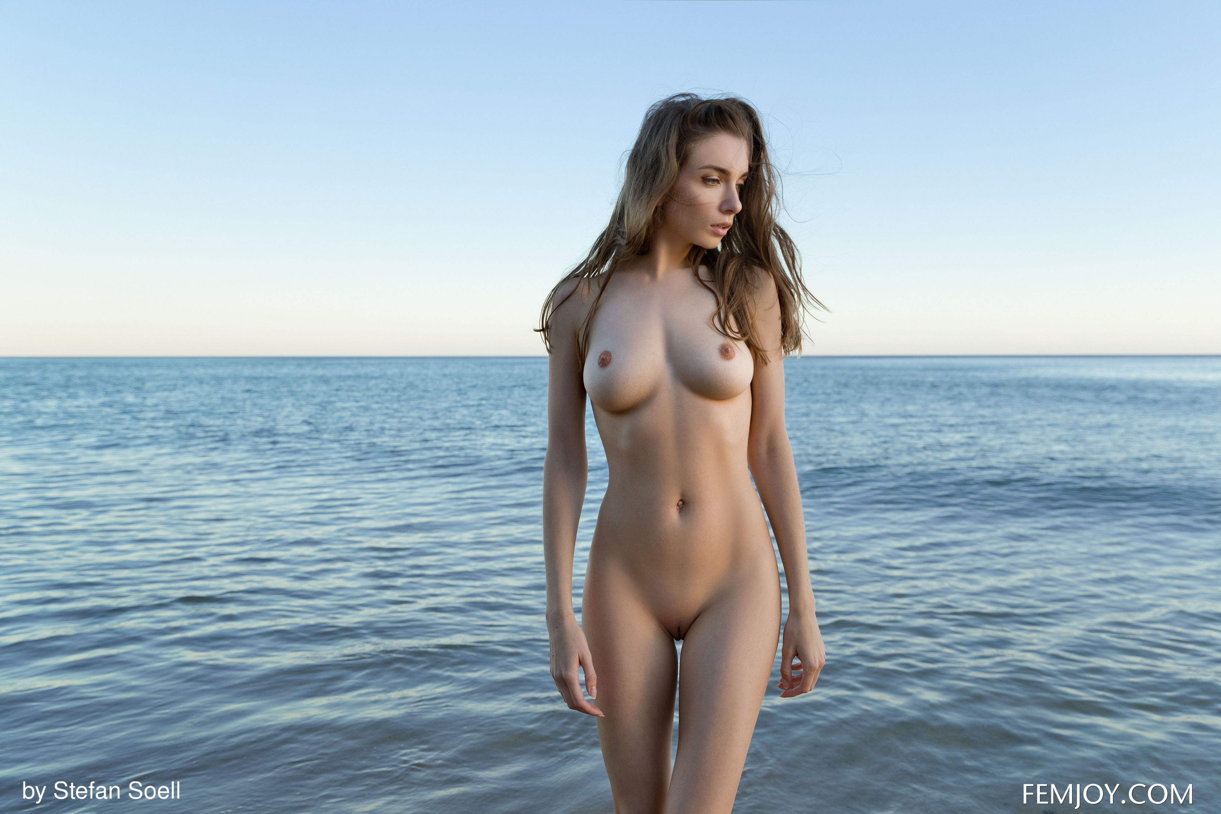 Female standing nude thigh gap